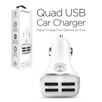 HyperGear High-Power Quad USB 6.8A Car Charger - White